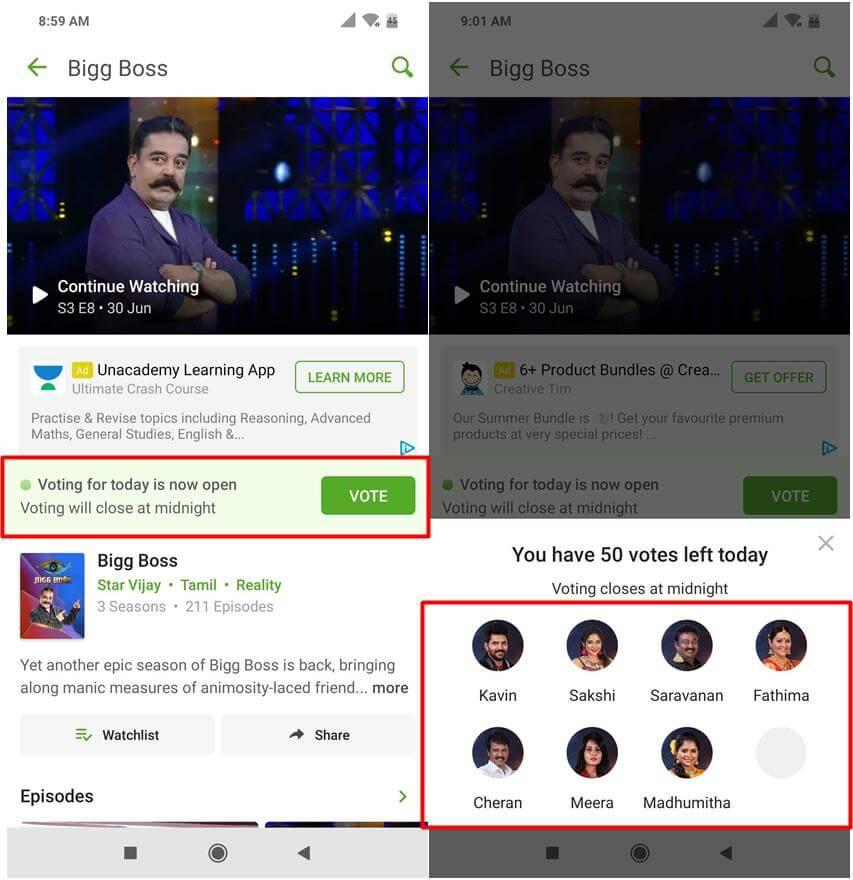 Bigg Boss Tamil Hotstar Vote